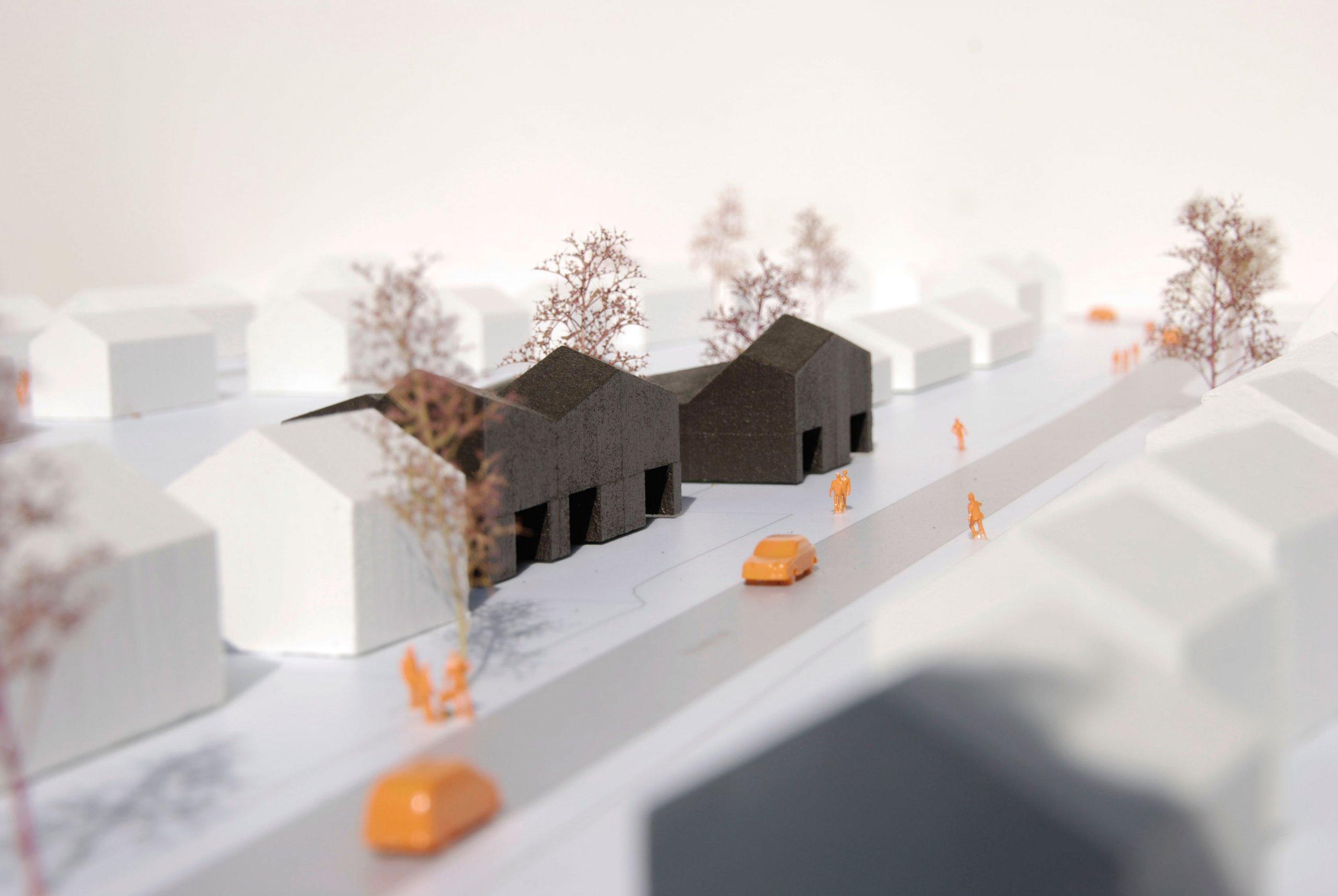 Situatie van bakstenen senioren woningen in Nederasselt, provincie Gelderland