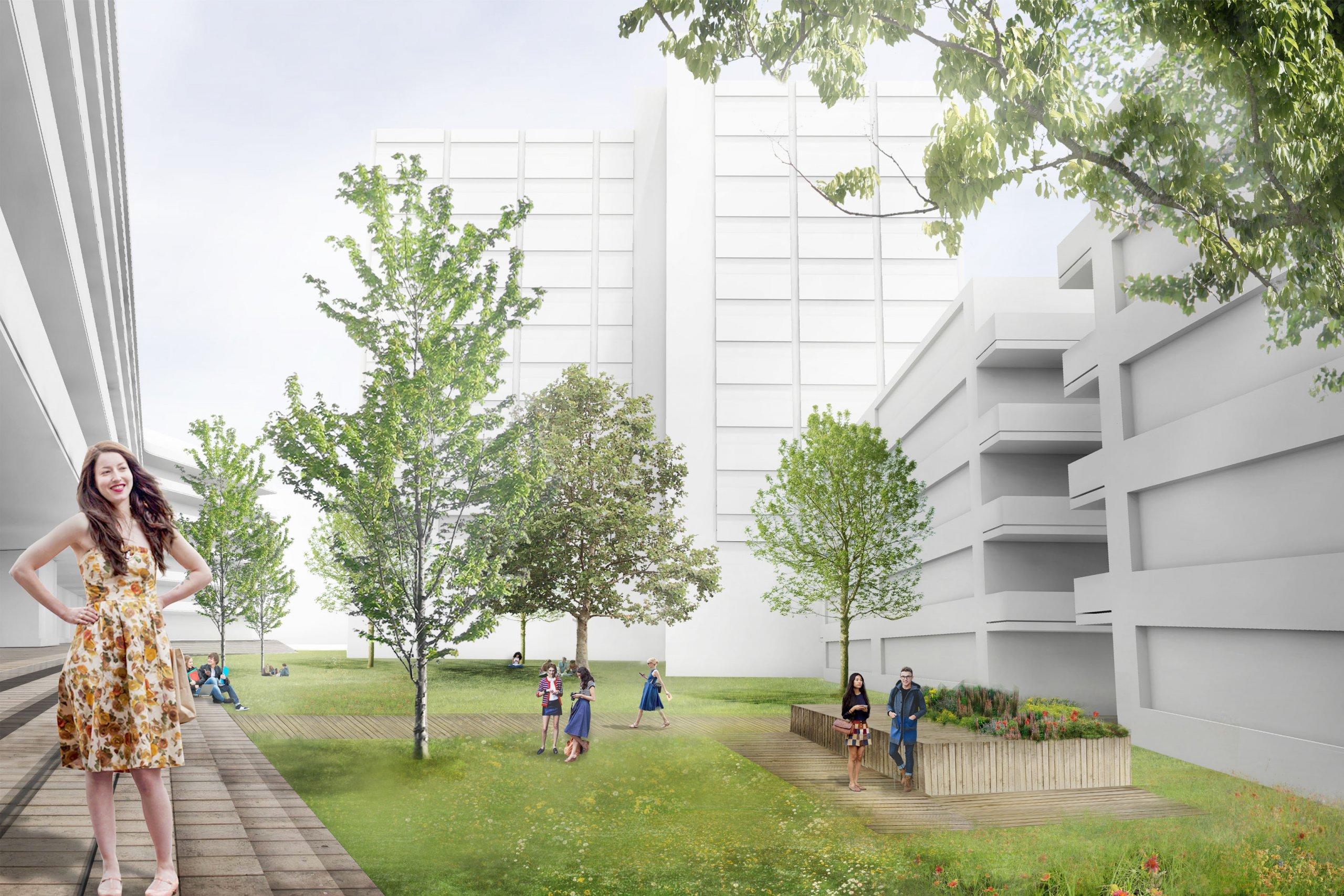 render van het binnenterrein van de campus met veel groen