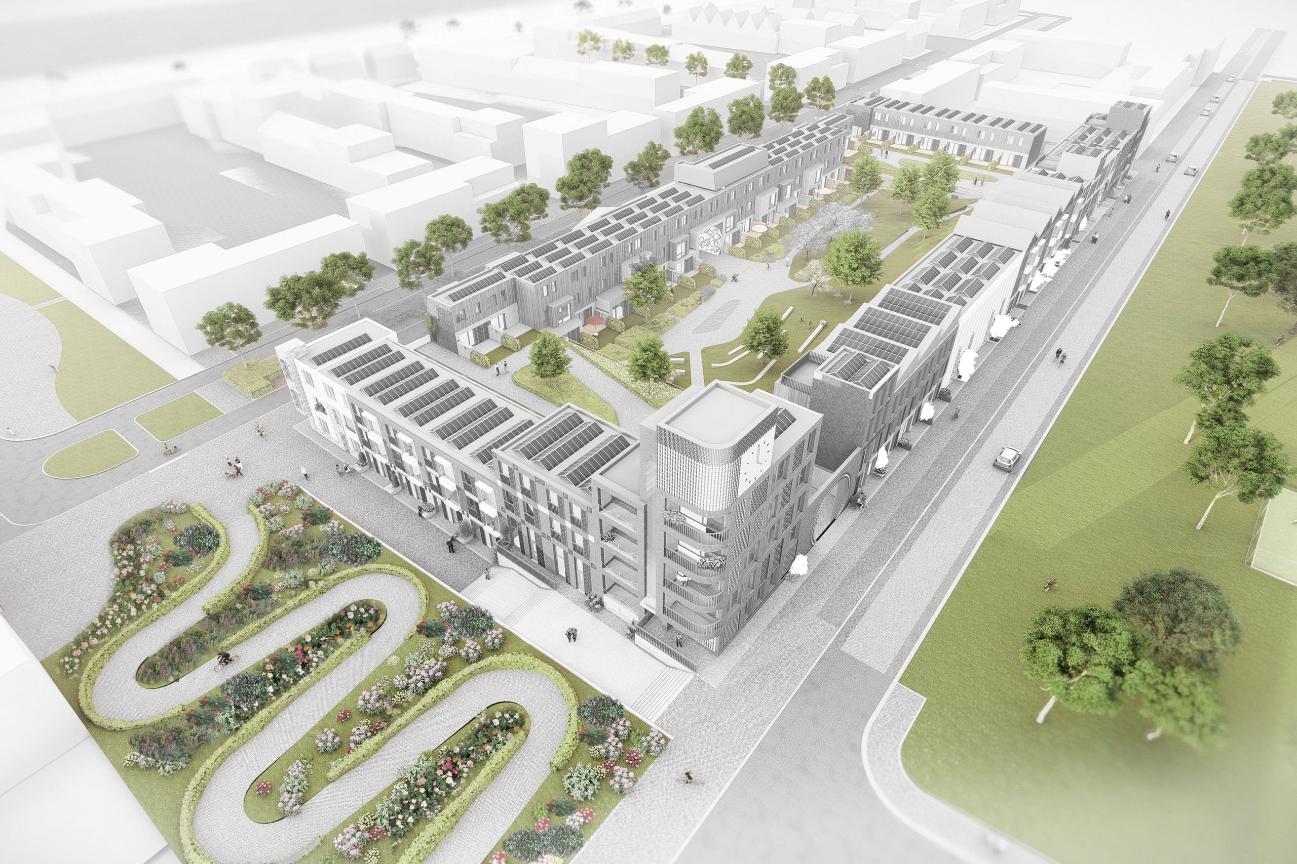 vogelvlucht render van bouwblok 7, Leeuwensteyn Utrecht