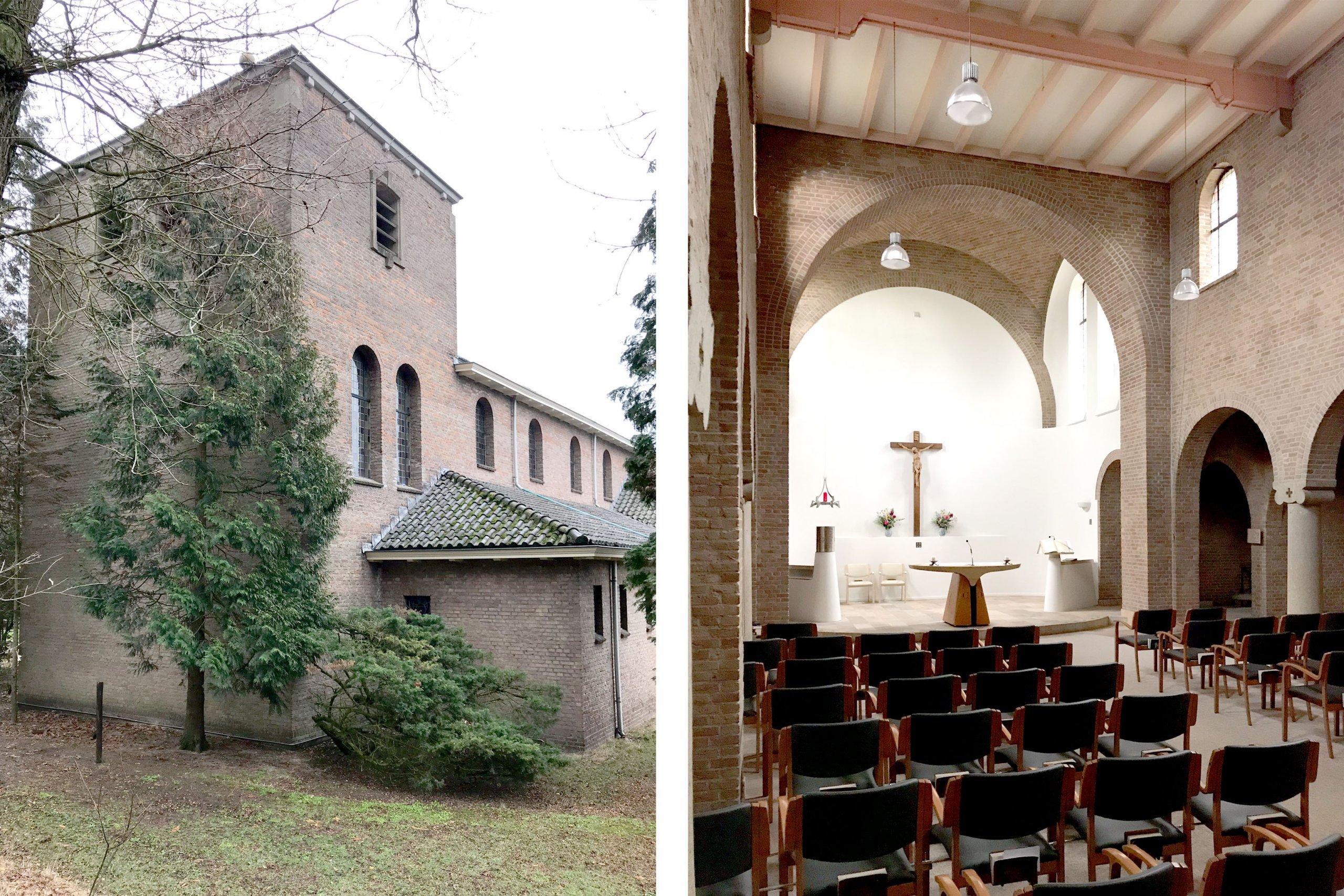 fotos van het bestaande kapelletje op het terrein van missiehuis Vrijland