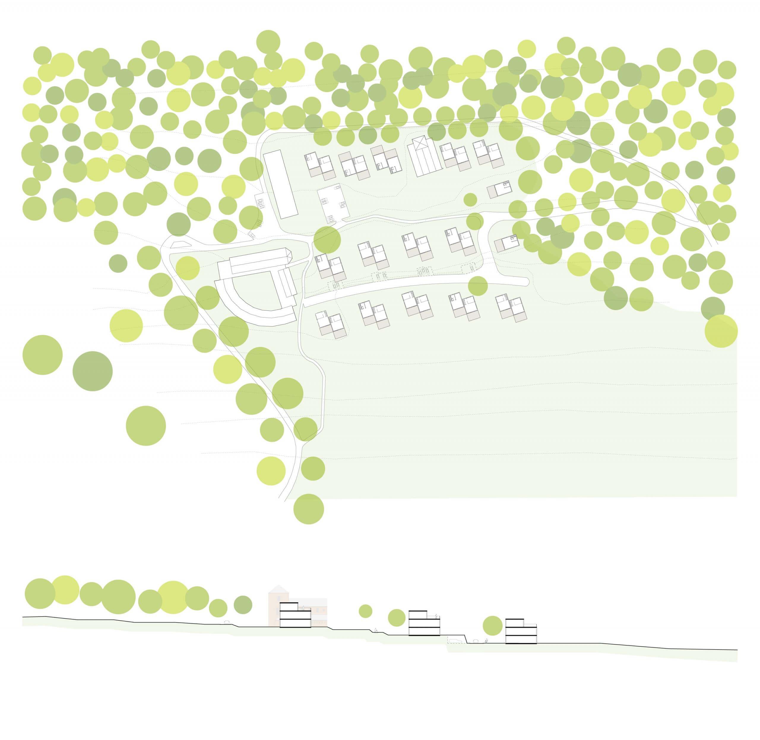 plattegrond en principe doorsnede