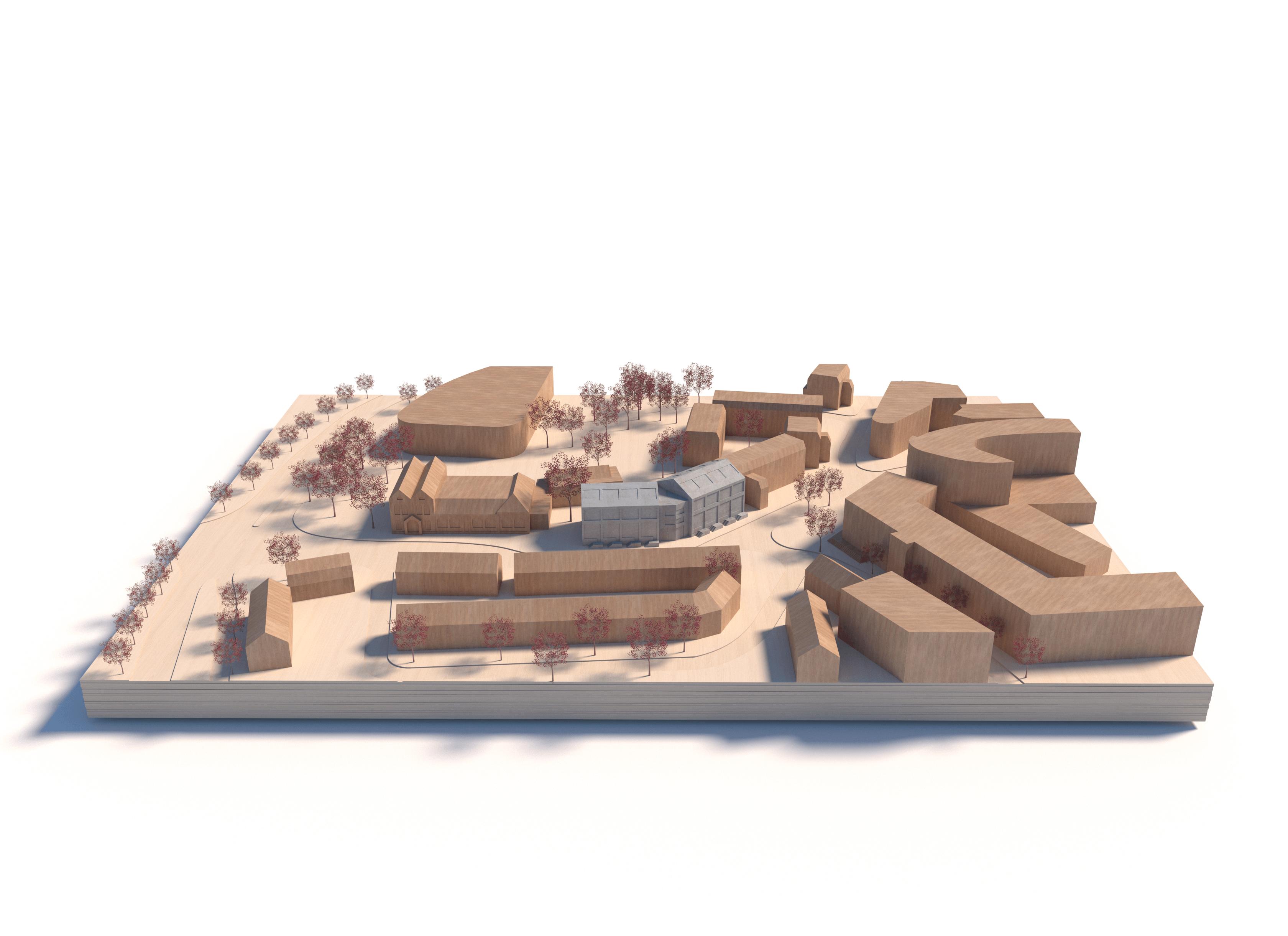 maquette beeld van de starter lofts in de situatie van het centrum van Hilversum