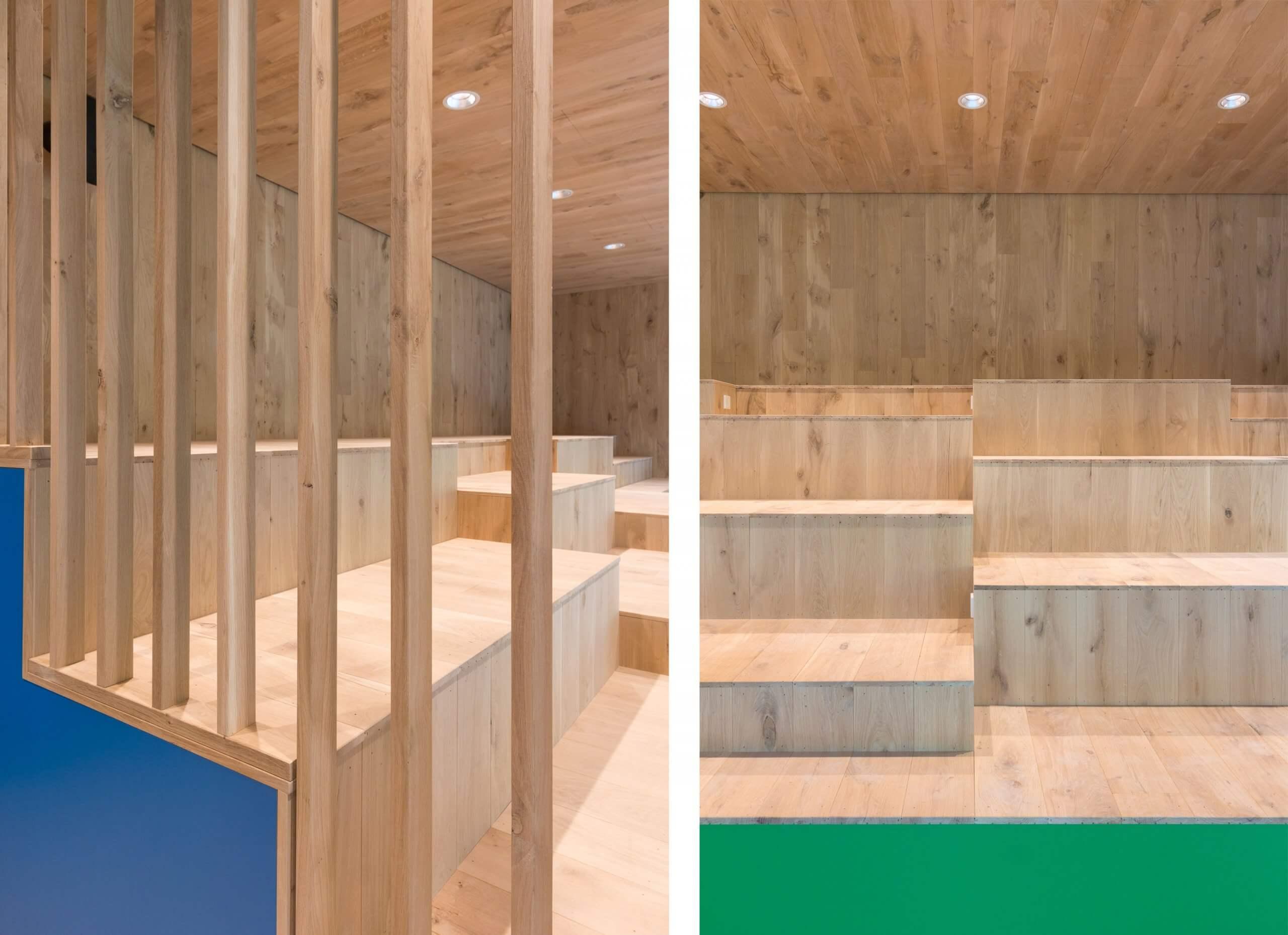 detailfoto van houten tribune element