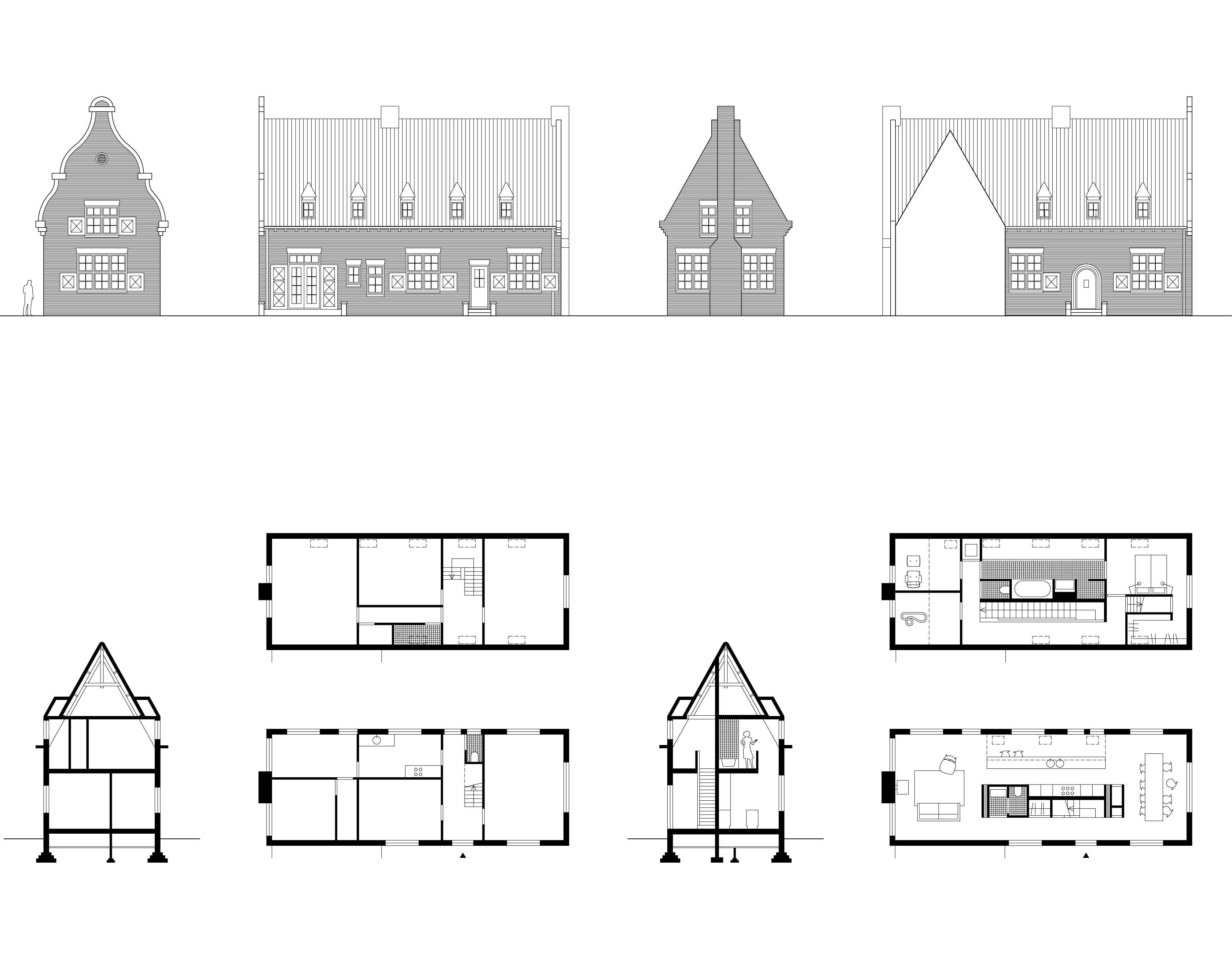 Tekeningen van getransformeerde monumentale bodewoning in Maartensdijk, Provincie Utrecht