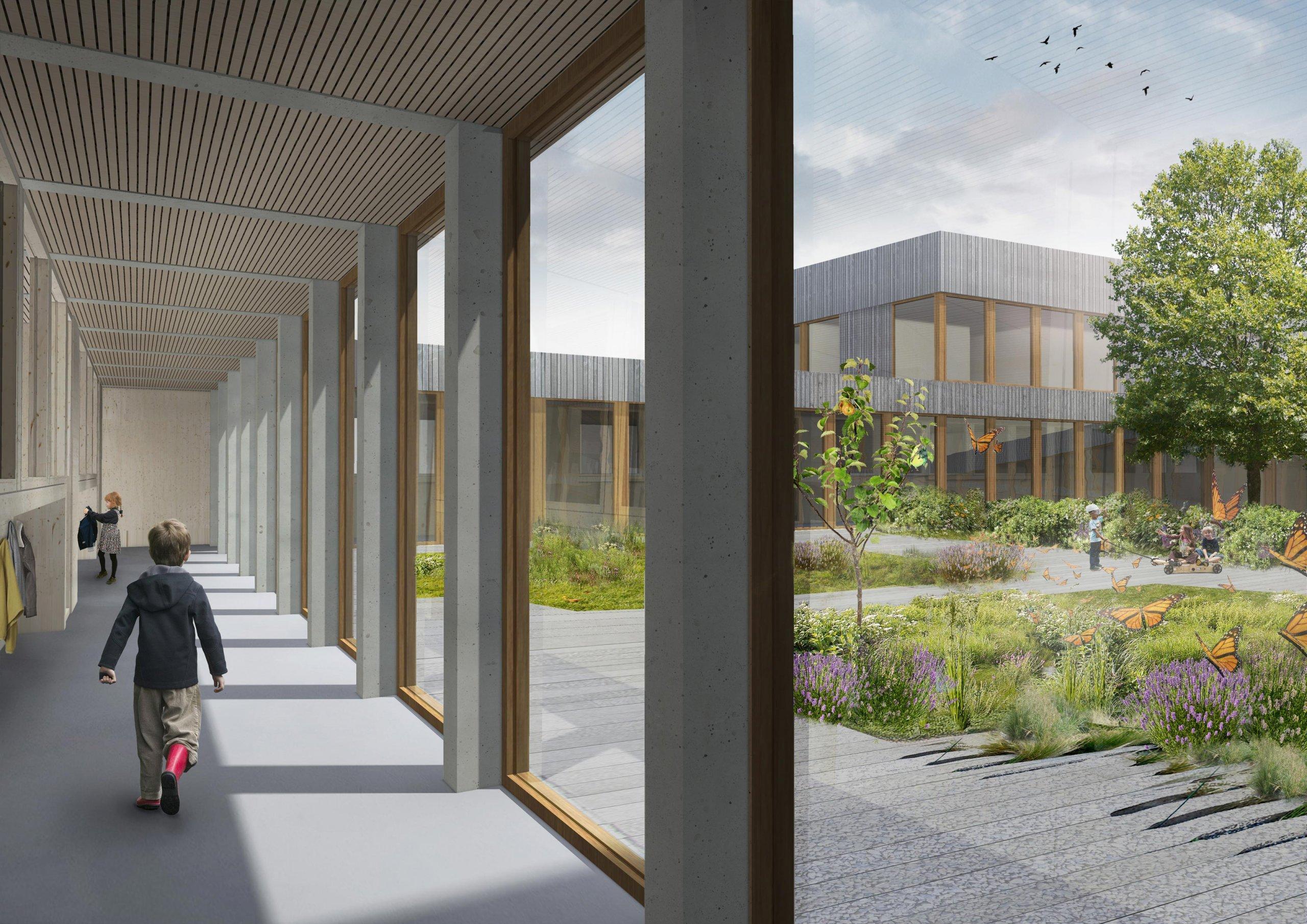 Interieur van Rudolf Steiner college en school in Haarlem, Provincie Noord-Holland