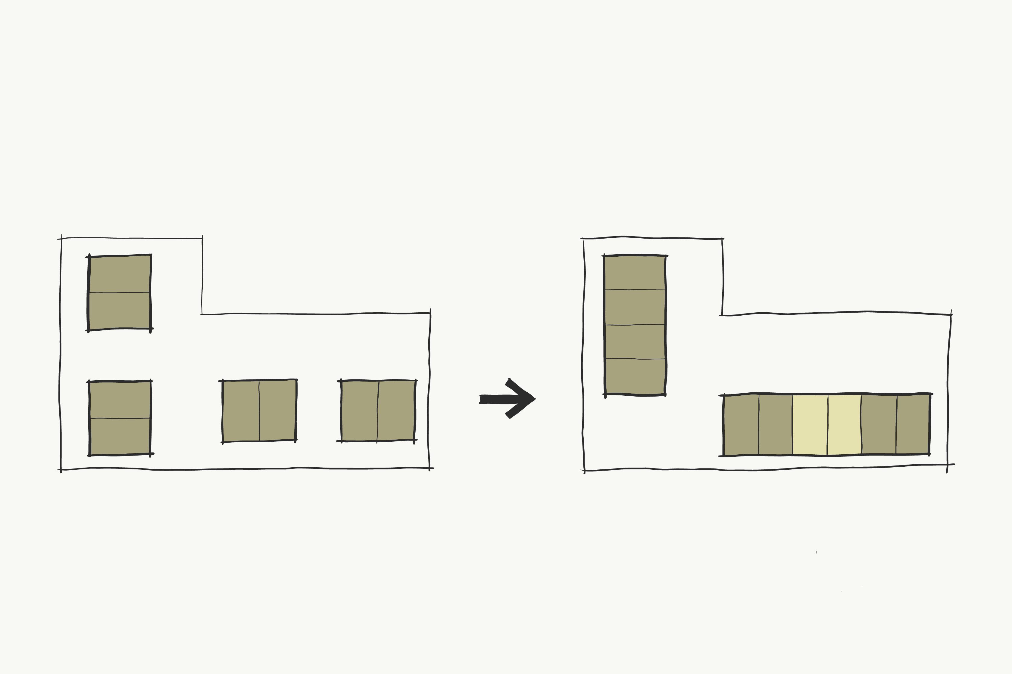 Concept van bakstenen woonblokken met starterswoningen in Schalkwijk, Provincie Utrecht