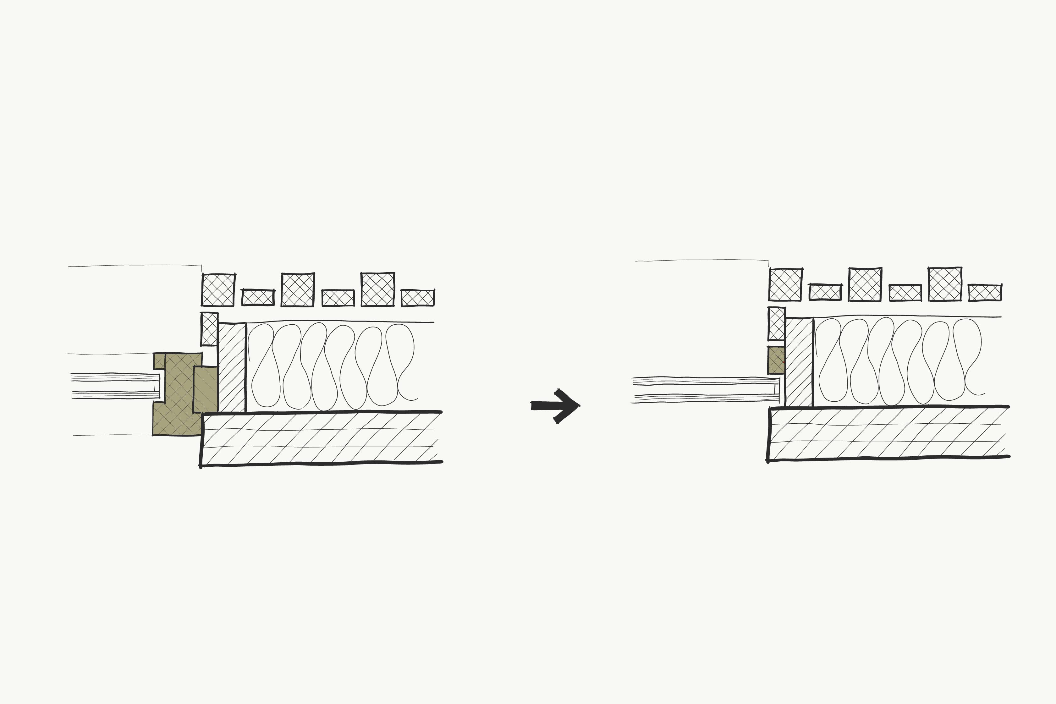 Met uitzondering van de schuifpui zijn er geen kozijnen toegepast. Het glas is rechtstreeks in het massieve hout geplaatst.