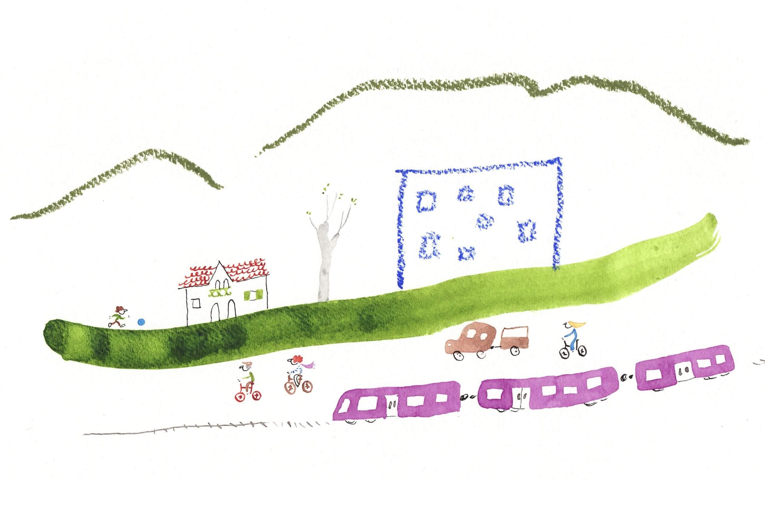 illustratie van het ontmoedingen van autogebruik en het stimuleren van lopen, fietsen en openbaar vervoer